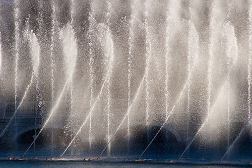 Photo of water fountain illustrating creative use of shutter speeds